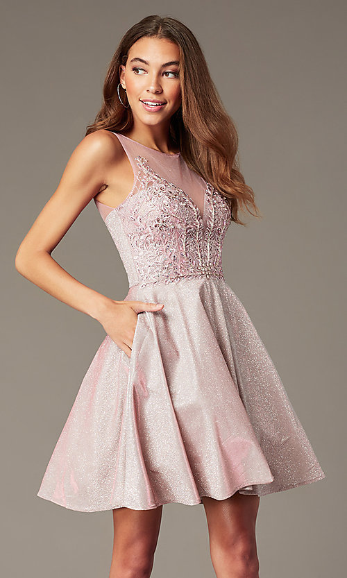 Image of short metallic-knit beaded-bodice homecoming dress. Style: SOI-W18767 Front Image