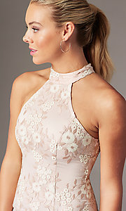 Image of short embroidered-mesh homecoming dress by PromGirl. Style: MT-PL-1340 Detail Image 2