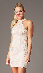 Image of short embroidered-mesh homecoming dress by PromGirl. Style: MT-PL-1340 Front Image