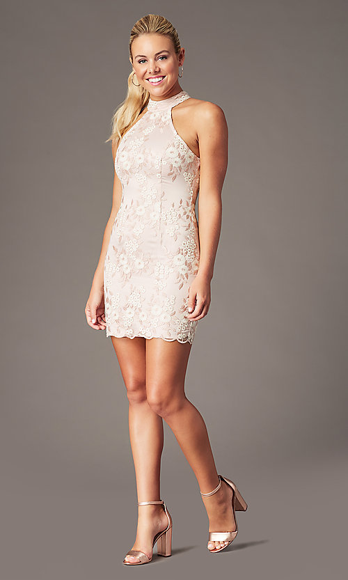 Image of short embroidered-mesh homecoming dress by PromGirl. Style: MT-PL-1340 Detail Image 1
