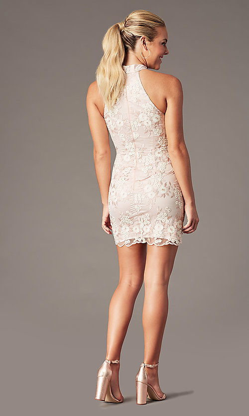 Image of short embroidered-mesh homecoming dress by PromGirl. Style: MT-PL-1340 Back Image