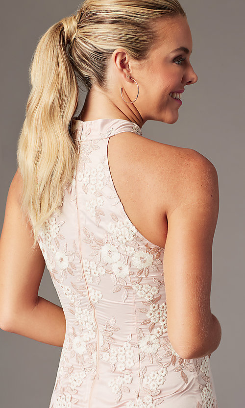 Image of short embroidered-mesh homecoming dress by PromGirl. Style: MT-PL-1340 Detail Image 3