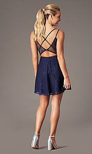 Image of lace short homecoming party dress with deep v-neck. Style: MT-9928-1 Detail Image 4