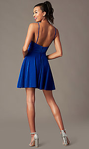Image of short glitter semi-formal hoco dress with pockets. Style: FB-GS2837 Detail Image 3