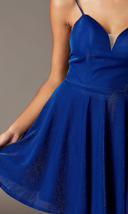 Image of short glitter semi-formal hoco dress with pockets. Style: FB-GS2837 Detail Image 1