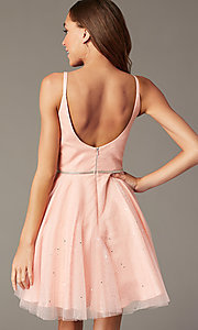Image of scoop-back short glitter homecoming party dress. Style: FB-GS2865 Detail Image 4