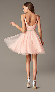 Image of scoop-back short glitter homecoming party dress. Style: FB-GS2865 Detail Image 6