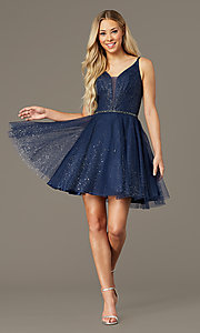 Image of scoop-back short glitter homecoming party dress. Style: FB-GS2865 Detail Image 1