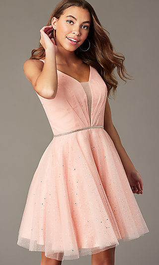 Scoop-Back Short Glitter Homecoming Party Dress