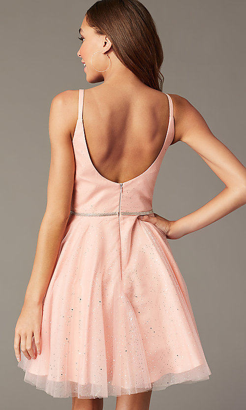 Image of scoop-back short glitter homecoming party dress. Style: FB-GS2865 Back Image