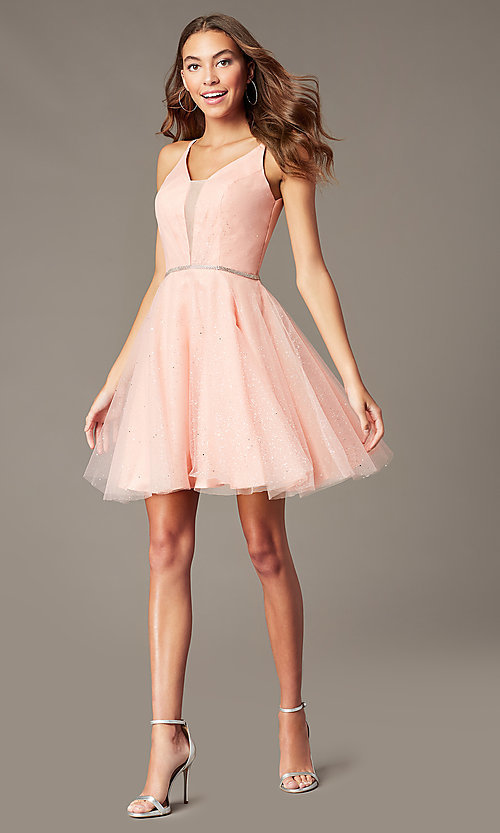 Image of scoop-back short glitter homecoming party dress. Style: FB-GS2865 Detail Image 5