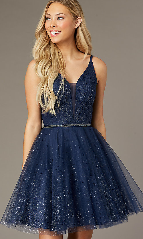 Image of scoop-back short glitter homecoming party dress. Style: FB-GS2865 Front Image