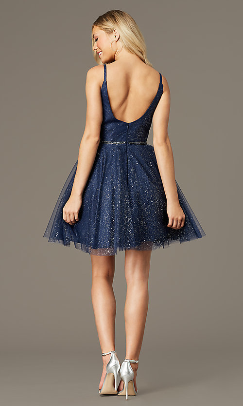 Image of scoop-back short glitter homecoming party dress. Style: FB-GS2865 Detail Image 2