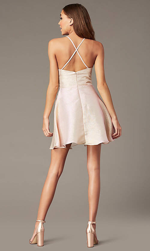 Image of short metallic-knit rose gold v-neck hoco dress. Style: FB-GS2838 Back Image