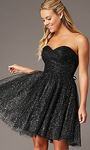 Image of sparkly short homecoming dress in glitter mesh. Style: FB-GS2868 Front Image