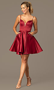 Image of caged-back short skater-skirt hoco party dress. Style: NA-N670 Detail Image 5