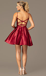 Image of caged-back short skater-skirt hoco party dress. Style: NA-N670 Detail Image 6