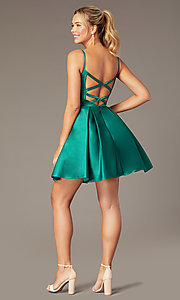 Image of caged-back short skater-skirt hoco party dress. Style: NA-N670 Back Image