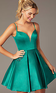 Image of caged-back short skater-skirt hoco party dress. Style: NA-N670 Detail Image 1