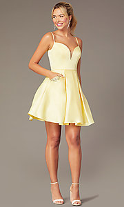 Image of caged-back short skater-skirt hoco party dress. Style: NA-N670 Detail Image 2