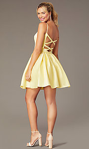 Image of caged-back short skater-skirt hoco party dress. Style: NA-N670 Detail Image 3