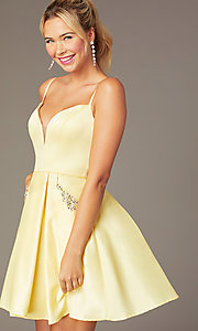 Image of caged-back short skater-skirt hoco party dress. Style: NA-N670 Detail Image 4