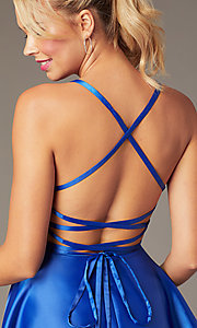 Image of sweetheart short open-back party dress with corset. Style: NA-M658 Detail Image 4