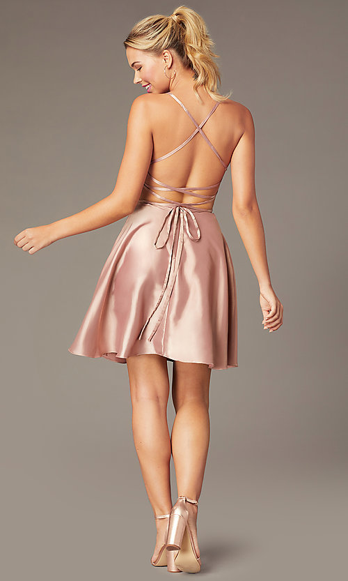 Image of sweetheart short open-back party dress with corset. Style: NA-M658 Detail Image 8