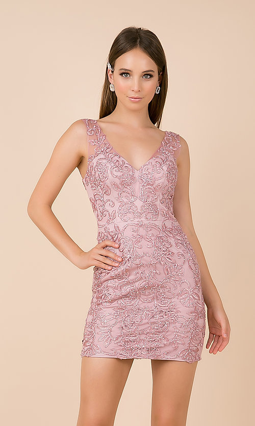 Image of short embroidered-mesh v-neck hoco dress. Style: NA-A671 Detail Image 4