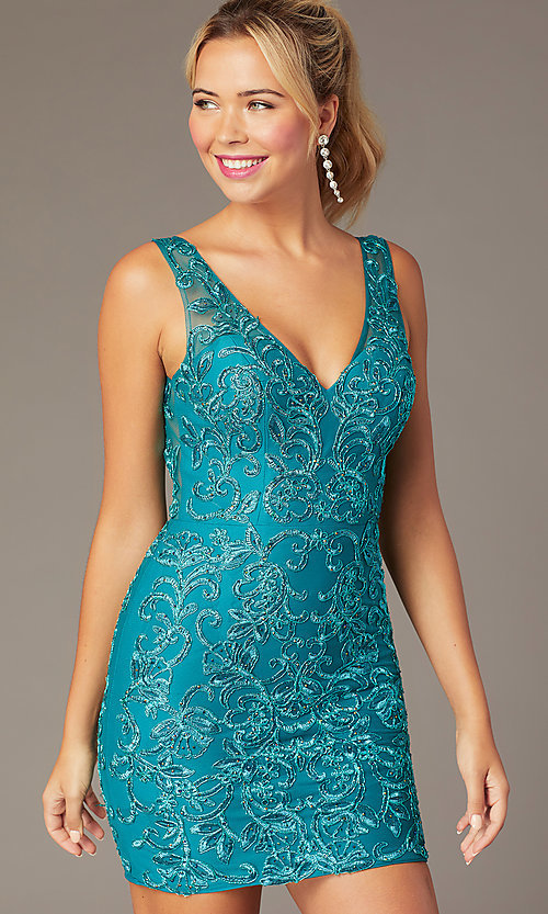 Image of short embroidered-mesh v-neck hoco dress. Style: NA-A671 Front Image