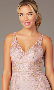 Image of short sparkly homecoming dress with rhinestones. Style: NA-A673 Detail Image 1