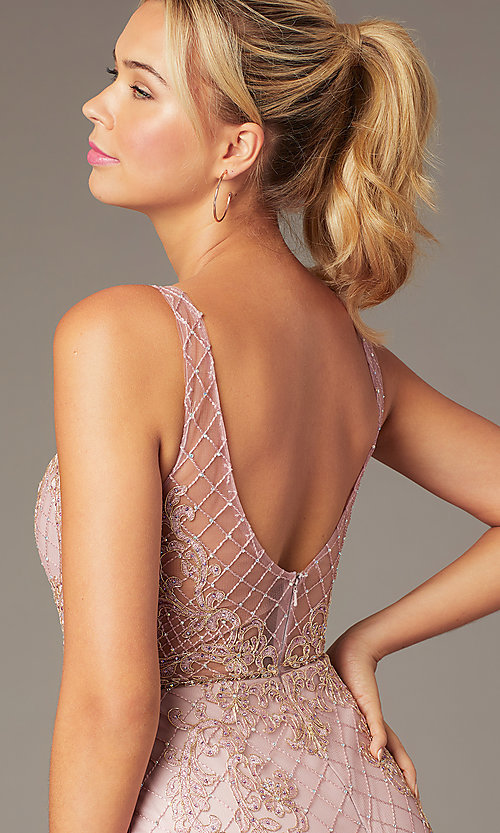 Image of short sparkly homecoming dress with rhinestones. Style: NA-A673 Detail Image 2