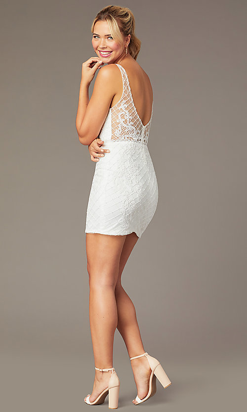 Image of short sparkly homecoming dress with rhinestones. Style: NA-A673 Detail Image 4