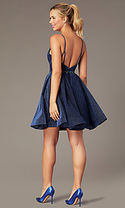 Image of short glitter-knit hoco dress by PromGirl. Style: NA-PL-T681 Back Image
