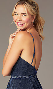 Image of short glitter-knit hoco dress by PromGirl. Style: NA-PL-T681 Detail Image 2