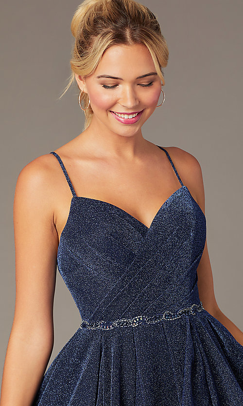 Image of short glitter-knit hoco dress by PromGirl. Style: NA-PL-T681 Detail Image 1