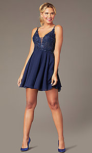 Image of beaded-bodice short homecoming dress by PromGirl. Style: NA-PL-G698 Detail Image 1