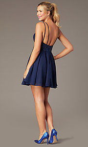 Image of beaded-bodice short homecoming dress by PromGirl. Style: NA-PL-G698 Back Image