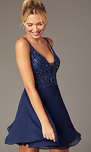 Image of beaded-bodice short homecoming dress by PromGirl. Style: NA-PL-G698 Front Image