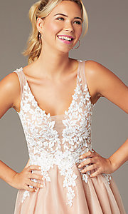 Image of short tan homecoming party dress by PromGirl. Style: NA-PL-G669 Detail Image 1