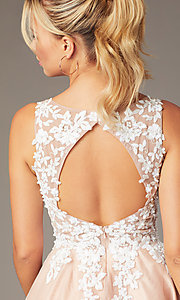 Image of short tan homecoming party dress by PromGirl. Style: NA-PL-G669 Detail Image 2