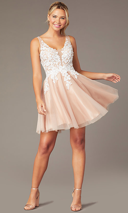 Image of short tan homecoming party dress by PromGirl. Style: NA-PL-G669 Front Image