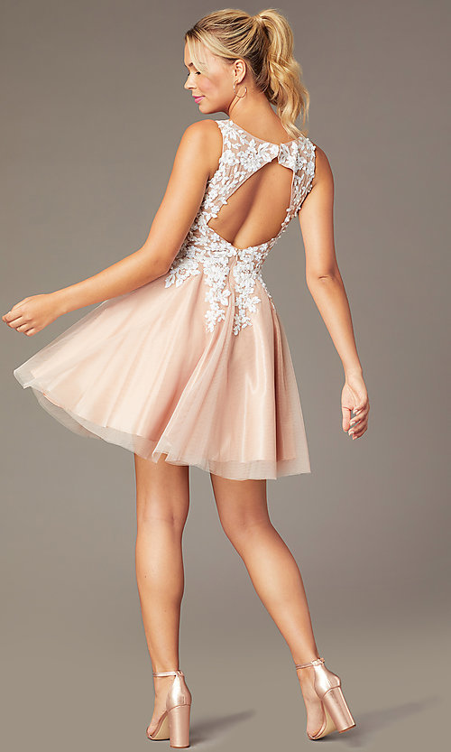 Image of short tan homecoming party dress by PromGirl. Style: NA-PL-G669 Back Image