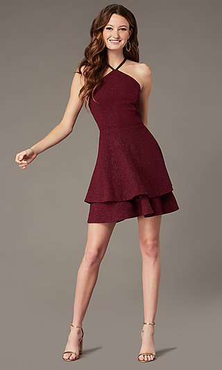 Short Burgundy Red Glitter Homecoming Dress
