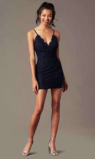 Scalloped V-Neck Short Lace Party Dress