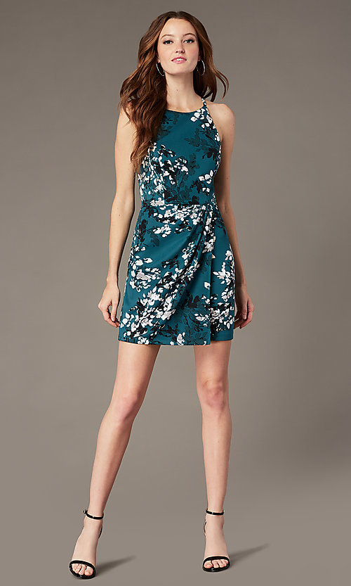 Image of short print party dress with lace back. Style: SS-D78451DB41 Detail Image 1