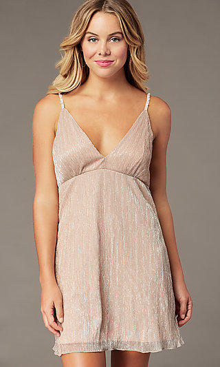Empire-Waist Short Hoco Dress in Metallic Crepe