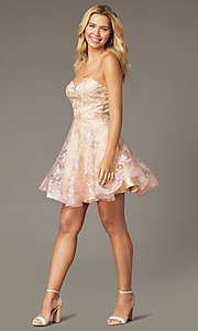 Image of strapless sweetheart short hoco dress by PromGirl. Style: TE-PL-4211 Front Image