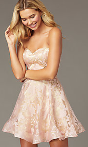 Image of strapless sweetheart short hoco dress by PromGirl. Style: TE-PL-4211 Detail Image 1
