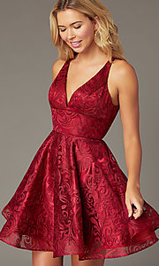 Image of embroidered short a-line hoco dress by PromGirl. Style: TE-PL-4122 Detail Image 1